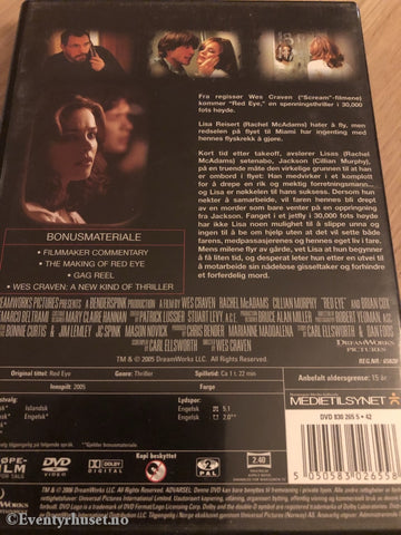 Red Eye. 2005. Dvd. Dvd