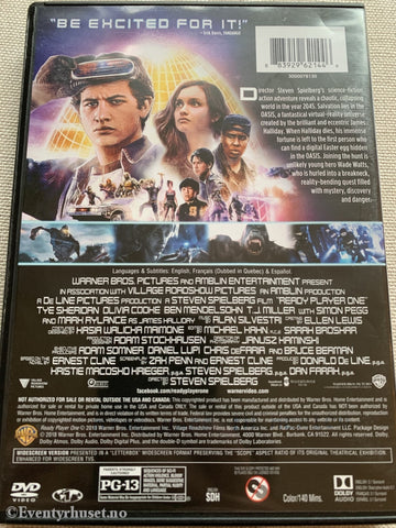 Stephen Spielbergs Ready Player One. Dvd. Dvd