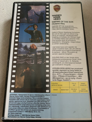 Stephen Spielbergs The Empire Of Sun. 1987. Vhs Big Box.