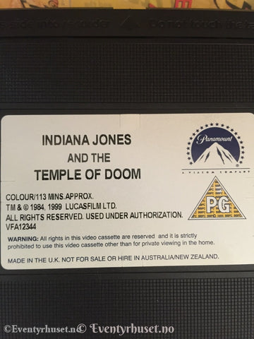 Steven Spielberg. 1984/99. Indiana Jones And The Temple Of Doom. Vhs. Vhs