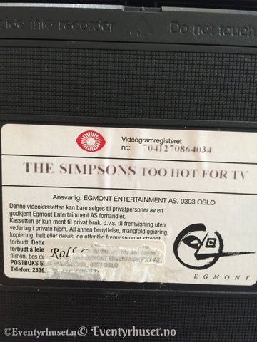 The Simpsons. Too Hot For Tv. 1992-98. (Norsk). Vhs. Vhs