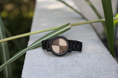 This handsome wood watch combines retro style with modern material