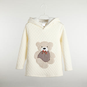 girl's Fall sweater with hood. cute teddy bear design - white
