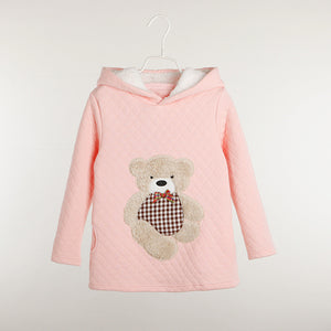 girl's Fall sweater with hood. cute teddy bear design - pink