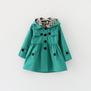 girl's double breasted Fall jacket with hood. green with button detail