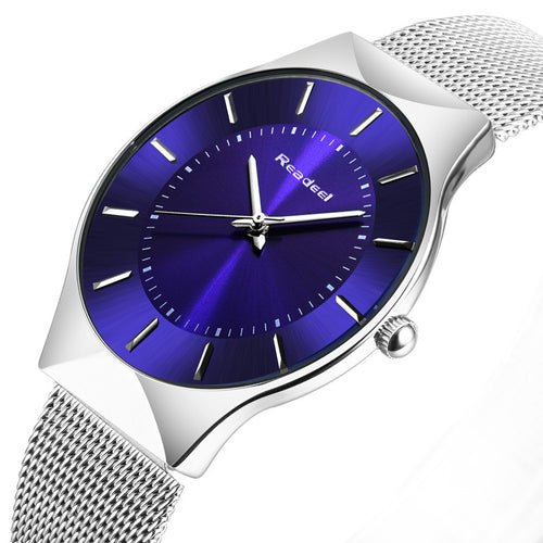 Men's Watch with Stainless Steel Mesh Strap - Ultra Thin - Quartz Movement - Black - Blue - Silver