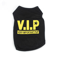 black dog coat with VIP Very Important Pup saying