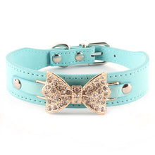 blue Dog collar with blingy bow