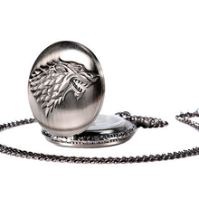 Pocket watch with embossed wolf head design