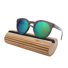 Wood Frame Sunglasses Bamboo Sunglasses with Polarized Lens UV 400 100% UV Protection - mirrored green lenses