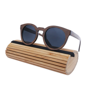 Wood Frame Sunglasses Bamboo Sunglasses with Polarized Lens UV 400 100% UV Protection - grey lenses