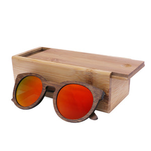 Wood Frame Sunglasses Bamboo Sunglasses with Polarized Lens UV 400 100% UV Protection - mirrored red lenses