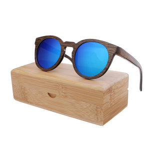 Wood Frame Sunglasses Bamboo Sunglasses with Polarized Lens UV 400 100% UV Protection - mirrored blue lenses