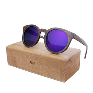 Wood Frame Sunglasses Bamboo Sunglasses with Polarized Lens UV 400 100% UV Protection - mirrored purple lenses