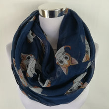 infinity scarf with cute cat pattern. navy