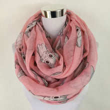 infinity scarf with cute cat pattern. pink