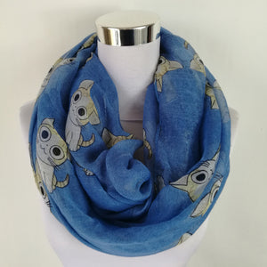 infinity scarf with cute cat pattern. blue