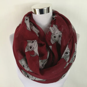 infinity scarf with cute cat pattern. red