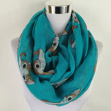 infinity scarf with cute cat pattern. teal green