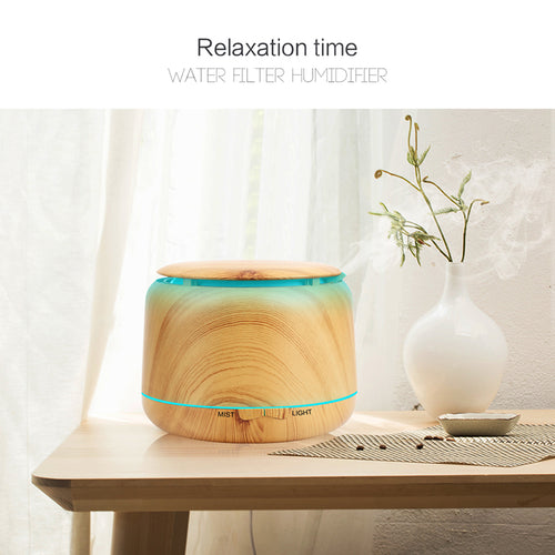 Wood Grain Aromatherapy Diffuser With 7 Color LED Light