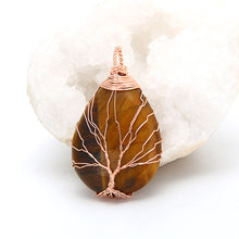 Natural Quartz Pendant with Tree of Life Wrapped Crystal