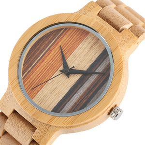 bamboo watch with light natural wood band and multi-colored clock face