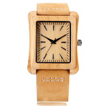 Wood Watch Made of Natural Bamboo and Genuine Leather Strap - Natural Clock Face, Tan Strap