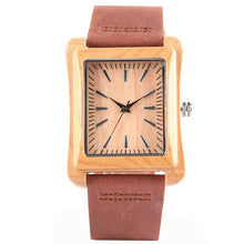 Wood Watch Made of Natural Bamboo and Genuine Leather Strap - Natural Clock Face, Cognac Strap