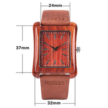 Wood Watch Made of Natural Bamboo and Genuine Leather Strap - Cognac - Dimensions
