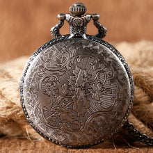 Pocket watch with embossed wolf head design back view