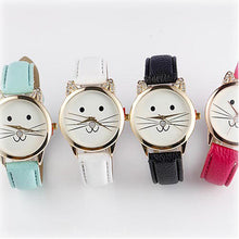 watch with cute cat face with whiskers and leather band