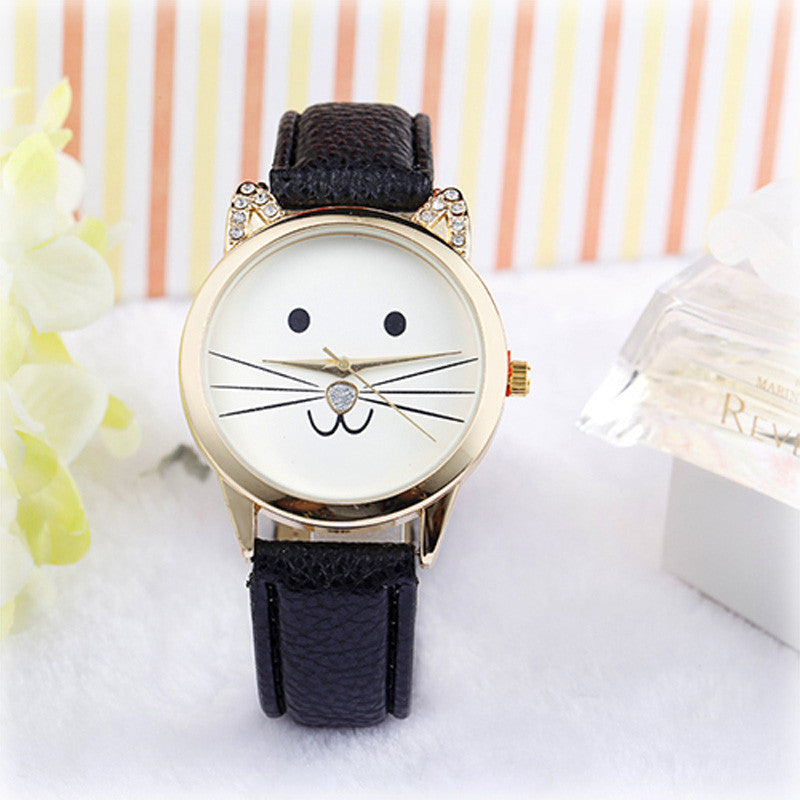 watch with cute cat face with whiskers and black leather band