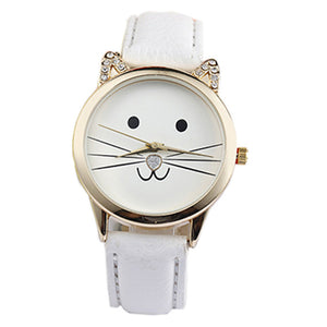 watch with cute cat face with whiskers and white leather band