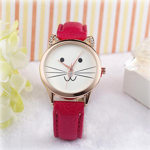 watch with cute cat face with whiskers and red leather band