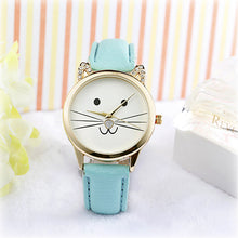 watch with cute cat face with whiskers and blue leather band