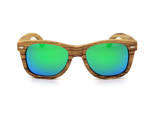 Wood Frame Sunglasses Handmade Zebra Wood Sunglasses UV400 HD Eyewear - green mirrored lenses