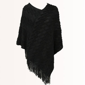 poncho with tassels. black