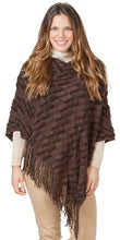 poncho with tassels. brown