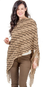 poncho with tassels. khaki