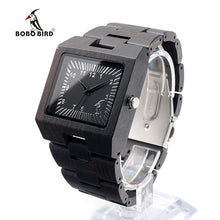 Wood Watch with Square Clock Face Ebony Wristwatch