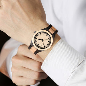 Maple and Bamboo Wood Watch with Analog Clock Face