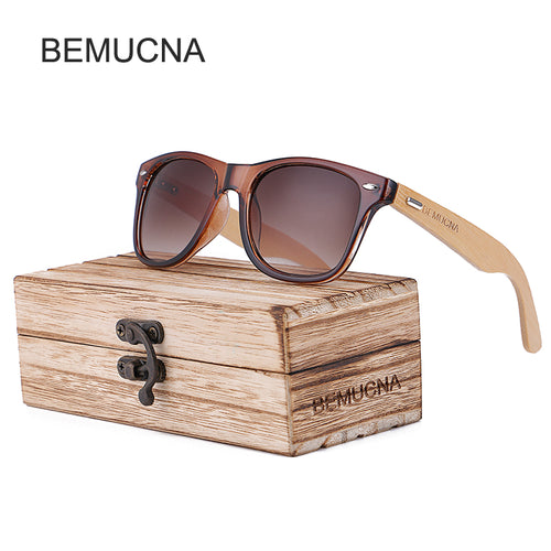 Wood Frame Bamboo Sunglasses UV 400 100% UV Protection - brown frame, brown lenses