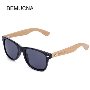 Wood Frame Bamboo Sunglasses UV 400 100% UV Protection - black frame, grey lenses