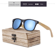 Wood Frame Bamboo Sunglasses UV 400 100% UV Protection - black frame, mirrored blue lenses