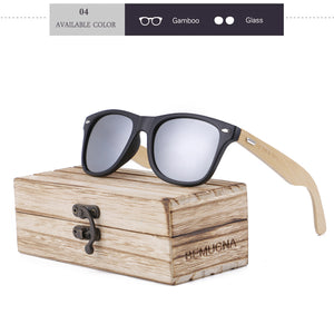 Wood Frame Bamboo Sunglasses UV 400 100% UV Protection - black frame, mirrored grey lenses