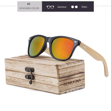 Wood Frame Bamboo Sunglasses UV 400 100% UV Protection - black frame, mirrored orange lenses