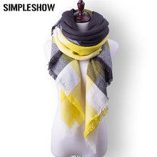 Plaid Fall or Winter Shawl Scarf. Yellow, black, white and grey plaid