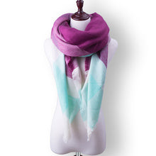 Plaid Fall or Winter Shawl Scarf. Mauve, white and aqua