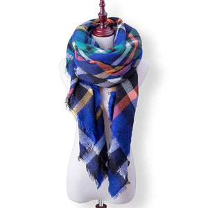 Plaid Fall or Winter Shawl Scarf. Blue multi-color plaid