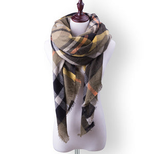 Plaid Fall or Winter Shawl Scarf